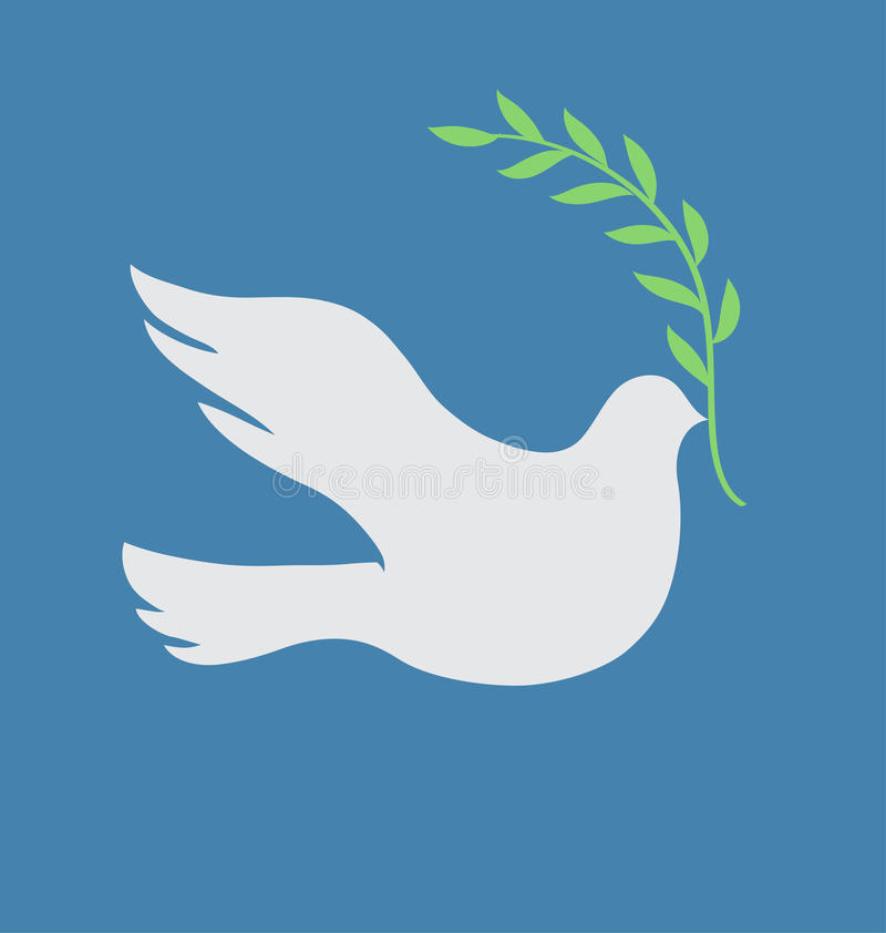 White dove. Vector Concept illustration of Beautiful white dove in flight holding an Olive Branch royalty free illustration