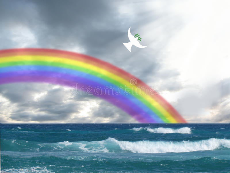 White dove flying to the light with olive leaf and rainbow christian symbol of peace and holy spirit stock image