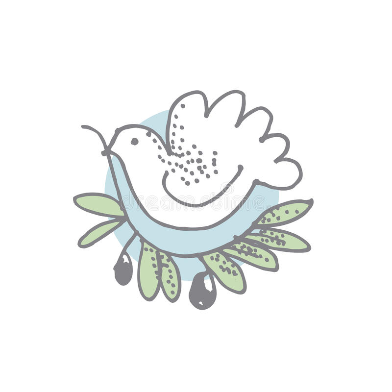 White dove with olive branch drawn in simple style. stock illustration