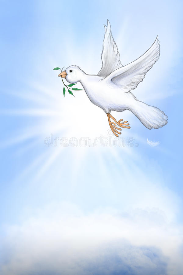 White dove of peace. A hand drawn white dove bird of peace flies through the sky in front of the sun and above clouds while carrying an olive branch vector illustration