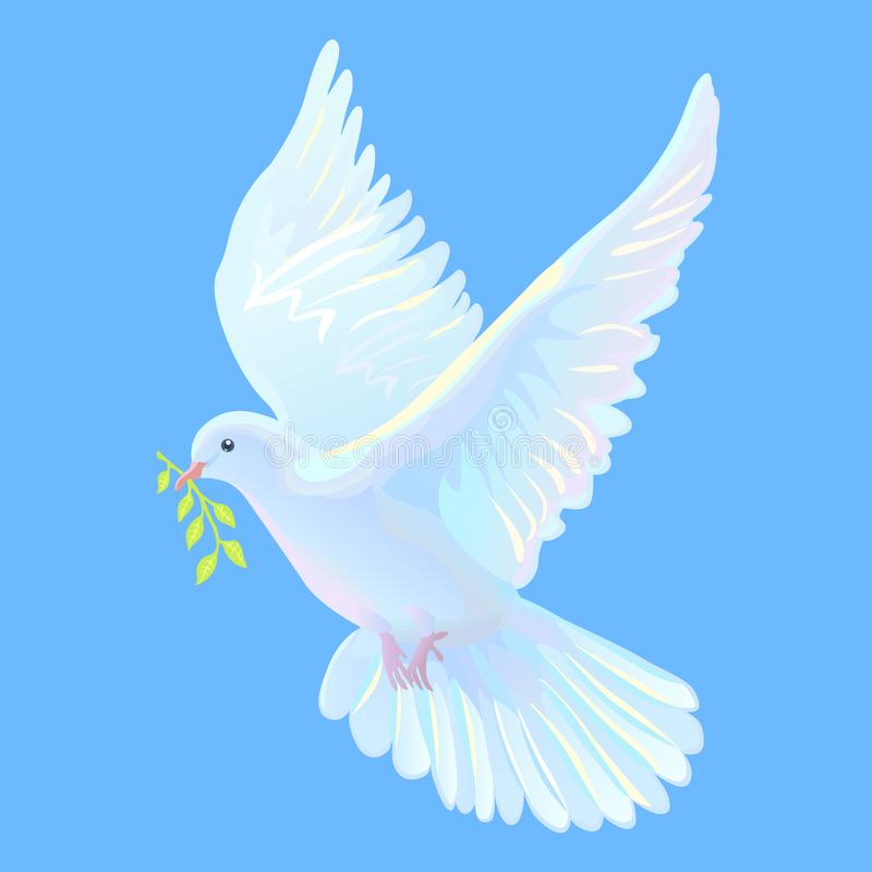 White Dove Is The Symbol Of A Peace Blue Sky Stock Vector