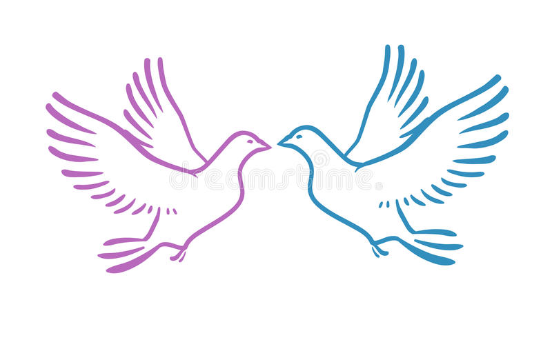 White Doves as concept Love or Peace. Abstract vector illustration stock illustration