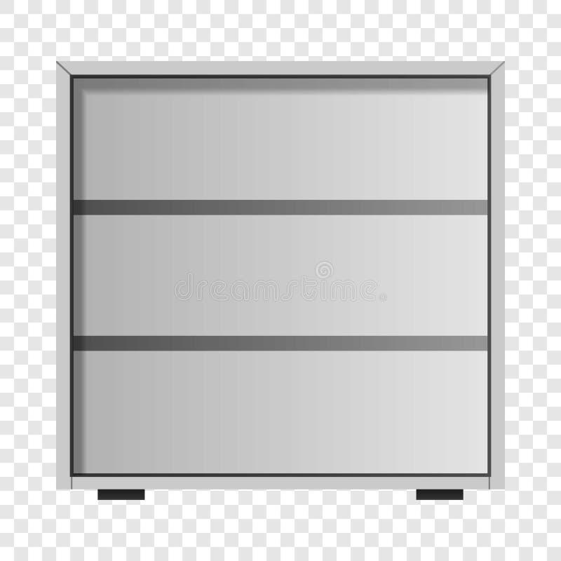 White drawer mockup, realistic style. White drawer mockup. Realistic illustration of white drawer vector mockup for on transparent background vector illustration