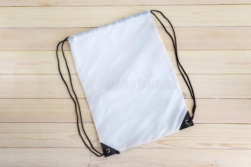 White drawstring pack template, mockup of bag for sport shoes royalty free stock photos