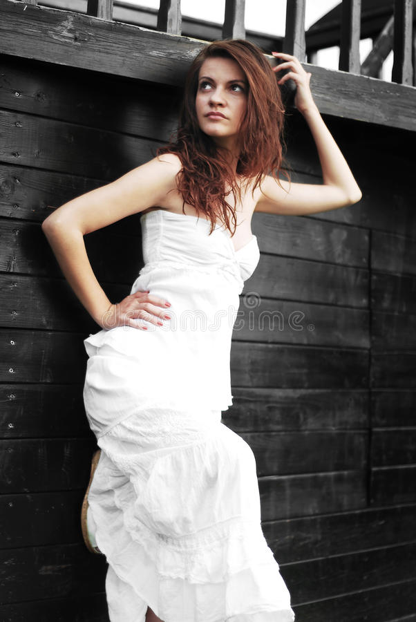 Download White dress girl stock image. Image of white, girl, young - 25530333