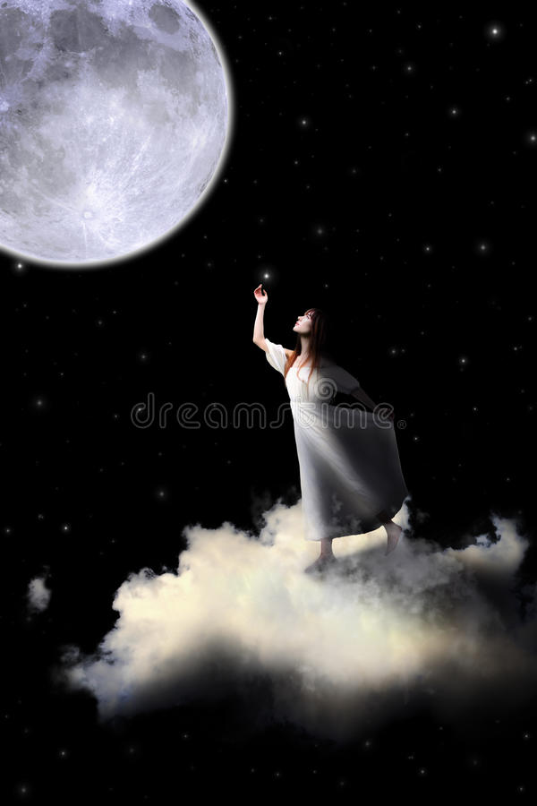 Free White Dress Girl Riding On The Clouds To The Moon. Royalty Free Stock Photos - 70840258