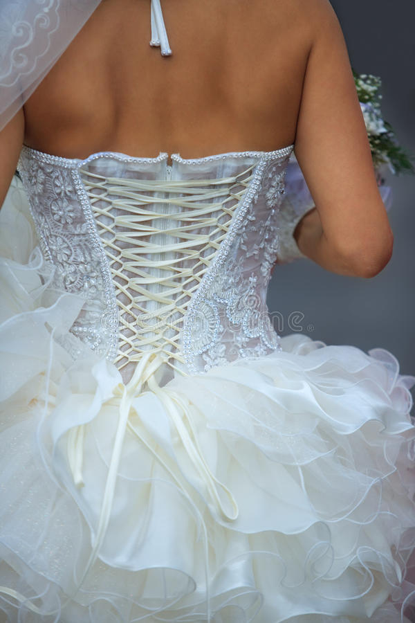 Free White Dress Laced Up Royalty Free Stock Photography - 21311427