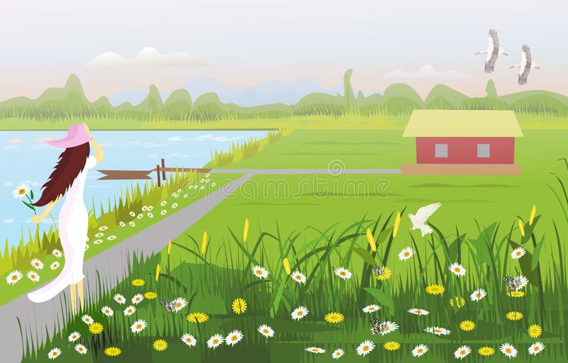 A white dress woman wearing a hat on walkway, There is a house in the middle of a field,. With a flower garden, a waterfront with a small boat, with forests and royalty free illustration