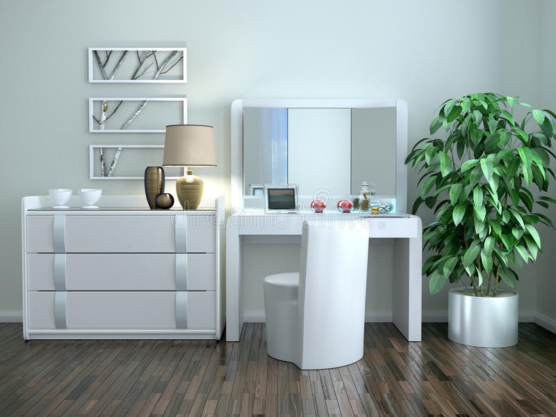 White dressing table with a chest of drawers. In the interior in the Art Nouveau style. 3d illustration stock illustration