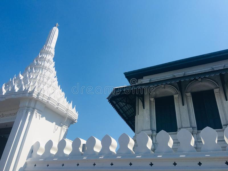 The white drool. The white wall Thai styles royalty free stock image