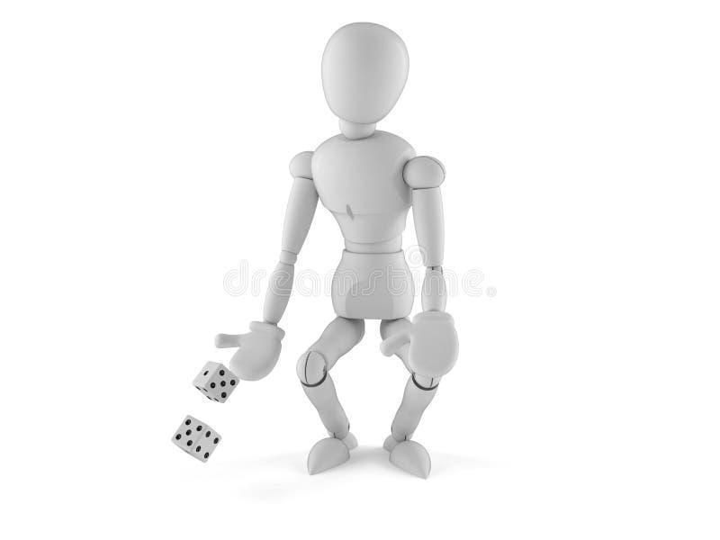 White dummy with dice. Isolated on white background stock illustration
