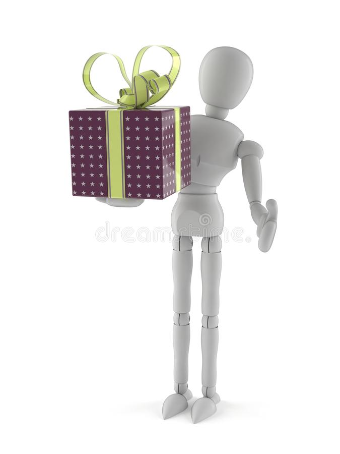 White dummy with gift. On white background vector illustration