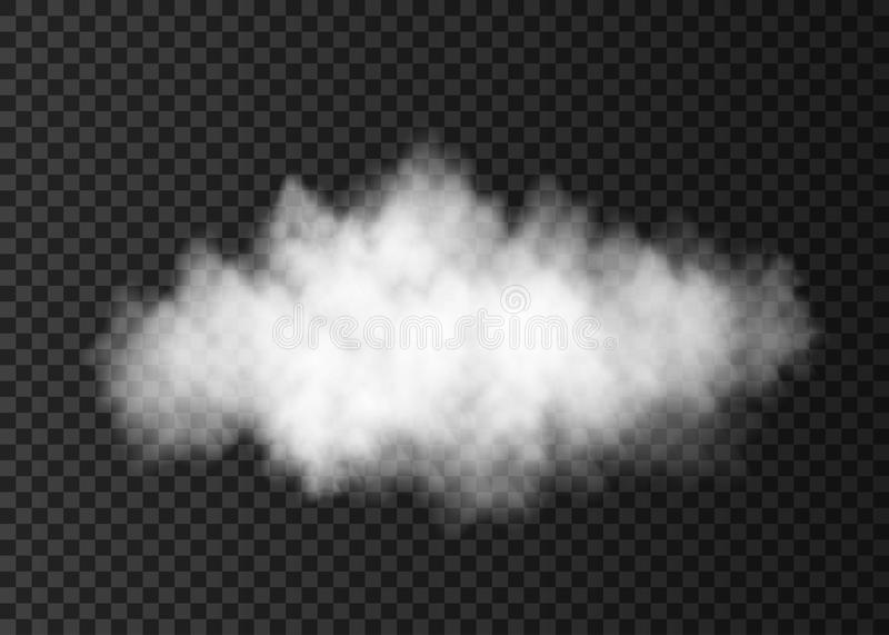 White dust cloud on transparent background. Smoke or steam explosion special effect. Realistic vector fire fog or mist texture template stock illustration