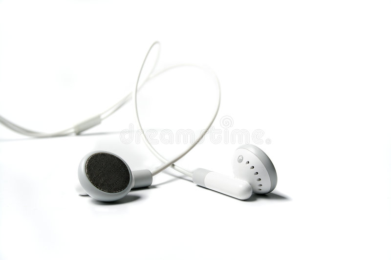 White earphones 2 royalty free stock photos