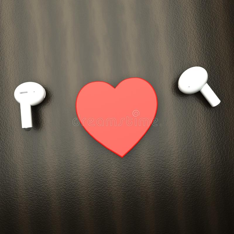 White earphones with a heart in between royalty free stock images