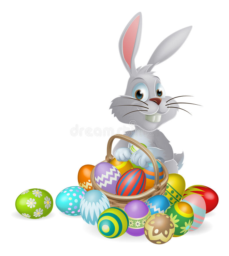 Free White Easter Bunny And Chocolate Eggs Royalty Free Stock Photos - 37049588