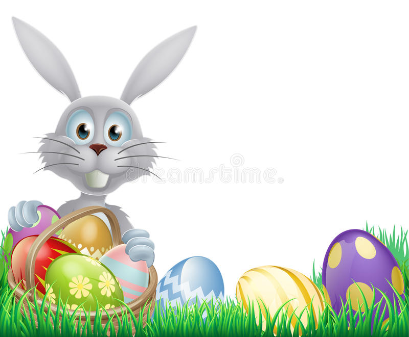 White Easter bunny and eggs. A cartoon white Easter bunny rabbit with a chocolate Easter eggs basket stock illustration