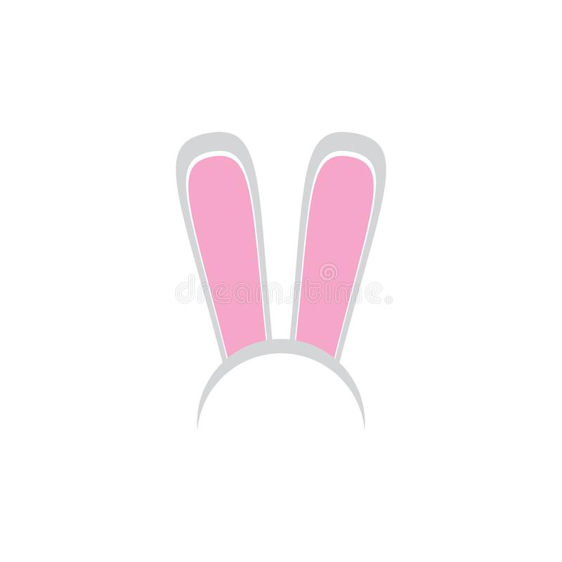 White easter bunny funky mask with rabbit ears isolated on white background. vector Kids easter party mask stock illustration