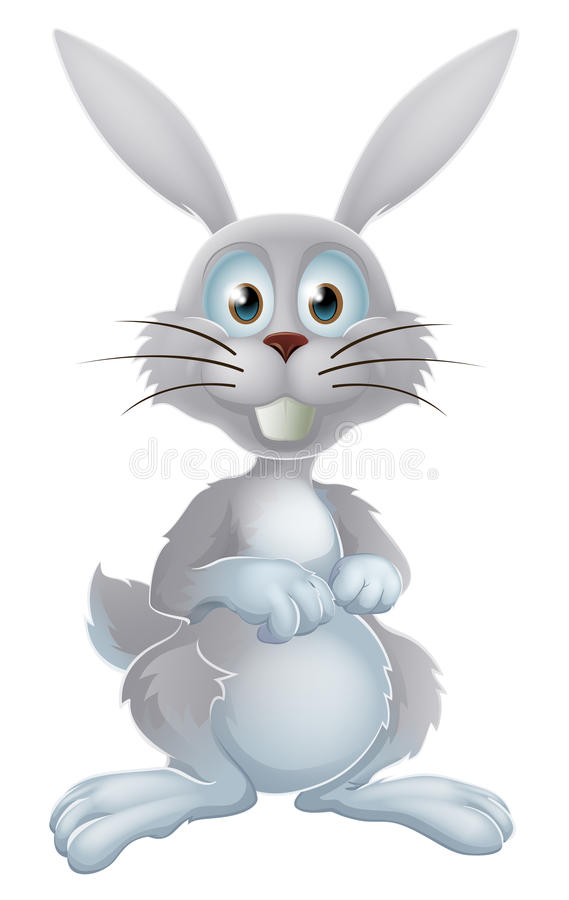 White easter bunny. An illustration of a cute cartoon white rabbit or Easter bunny royalty free illustration