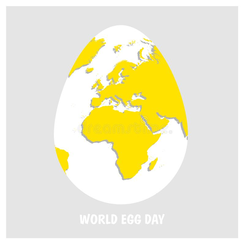 White Easter egg with yellow world map. Planet Earth in form of egg on light gray background with text World Egg Day. Flat Vector royalty free illustration