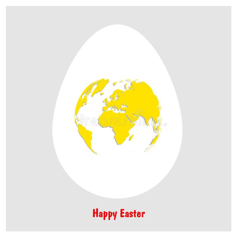 White Easter egg with yellow world map. Planet Earth in form of egg yolk on light gray background with text Happy Easter. Flat Vec royalty free illustration