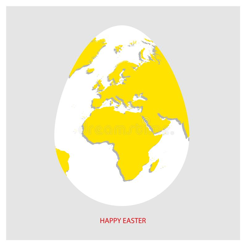 White Easter egg with yellow world map. Planet Earth in form of egg on light gray background with greeting text in red color. Vect royalty free illustration