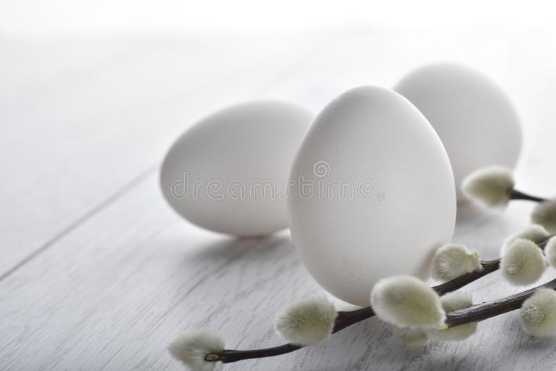 White Easter eggs with branch. White Easter eggs and branch designed background stock photos