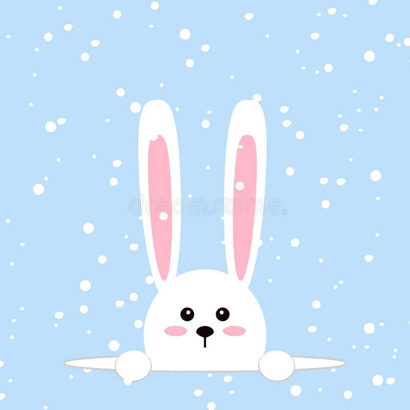 White easter rabbit. Funny bunny in flat style. Easter Bunny. On blue winter background, falling snowflakes. Vector vector illustration