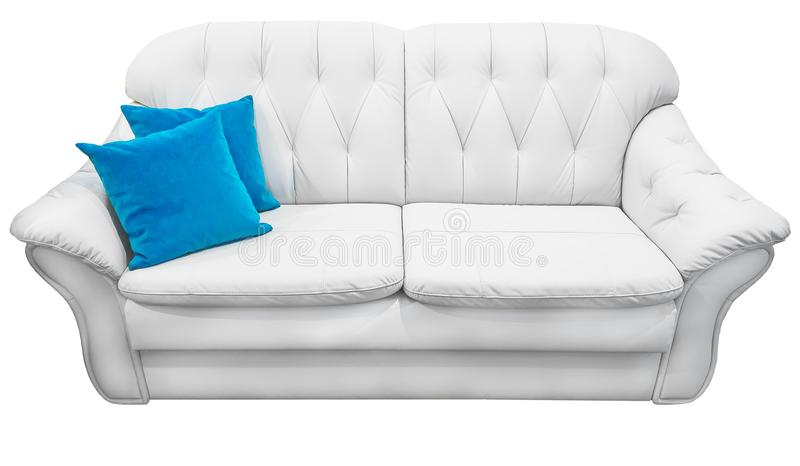 White eco leather sofa with blue pillow. Soft snow white couch with coach-type screed capitone. Classic divan on. White sofa with blue pillow. Soft snow white royalty free stock images