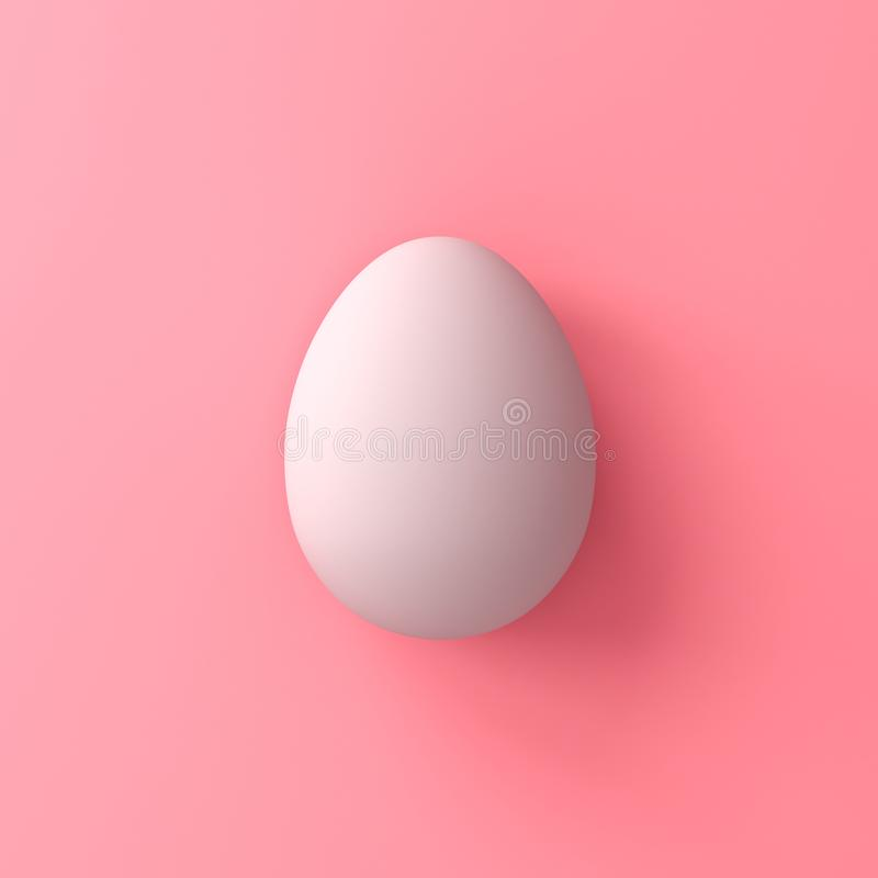 White egg on pink pastel color background with shadows 3D rendering stock image