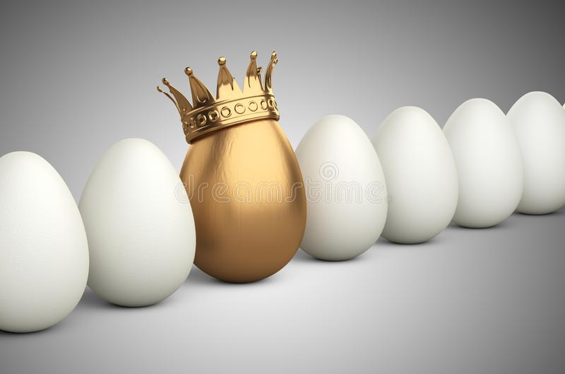 White egg row with one in the golden crown. Leadership concept vector illustration
