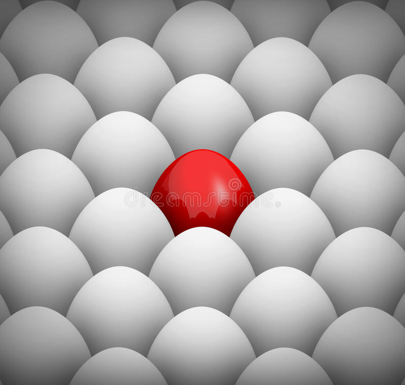 White eggs and one red egg background stock illustration