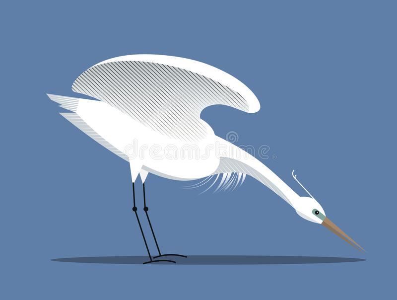 White egret. Spreads its wings, minimalist style vector illustration
