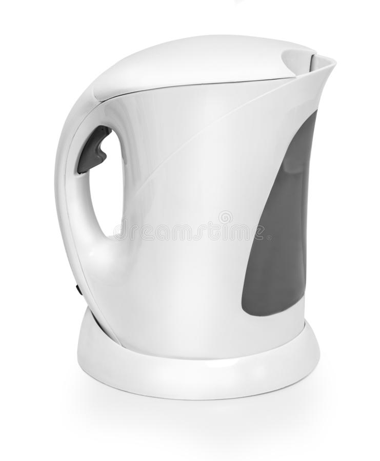 White electric kettle isolated on white. With clipping path stock photography