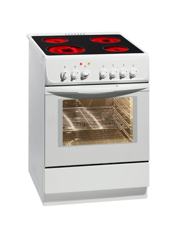 White electric stove with oven. stock images