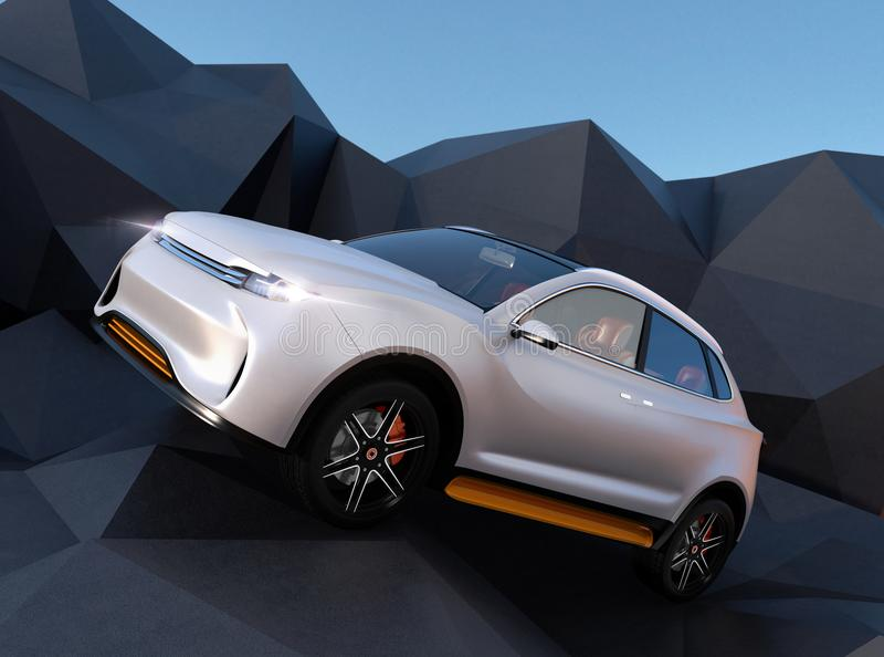 White electric SUV on geometric hard surface ground stock illustration