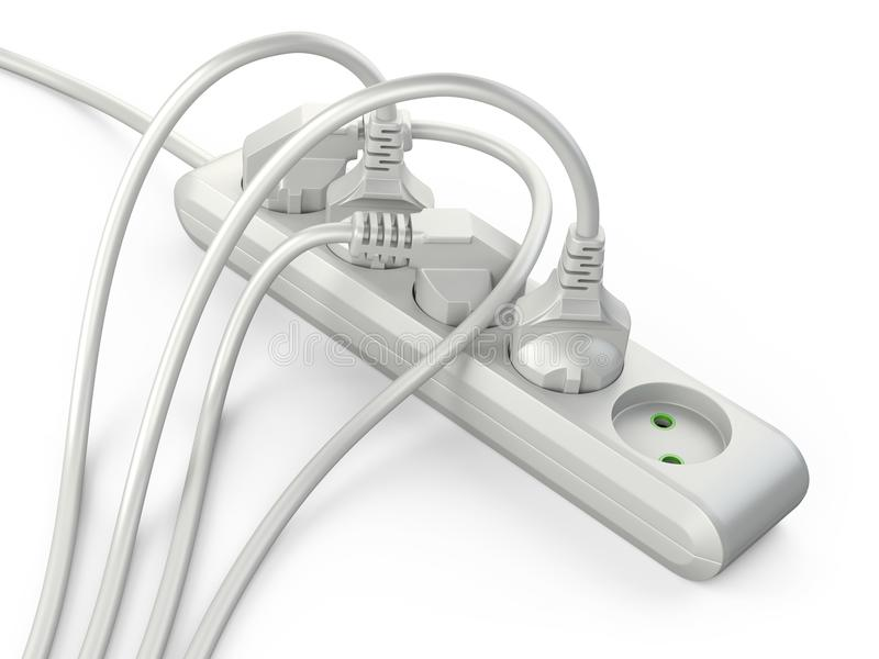 White electrical extension strip cord with connected power plugs. 3d illustration isolated on a white background vector illustration