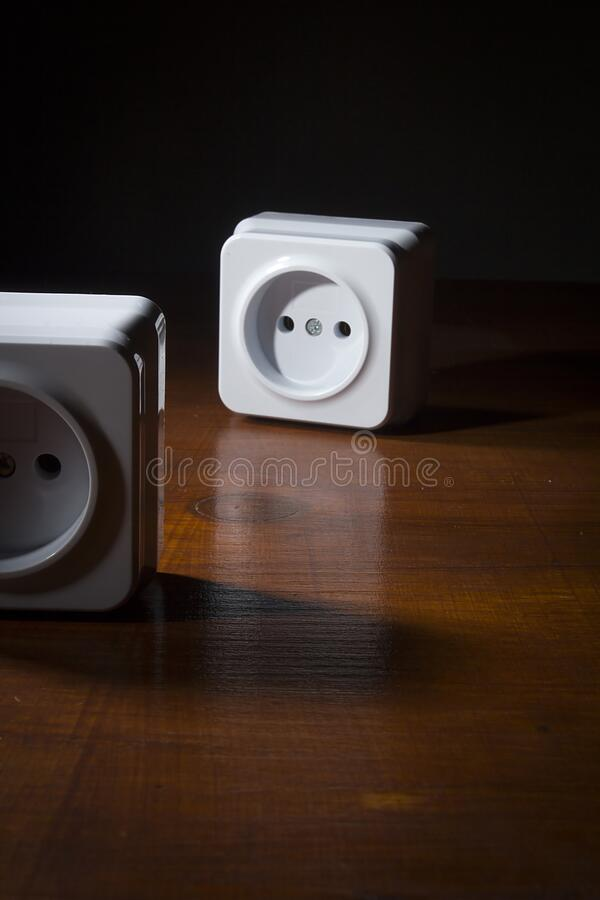 White electrical outlets royalty free stock photo
