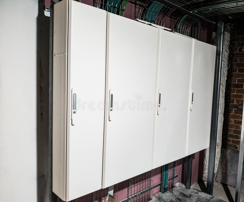 White electrical panel finished stock photos