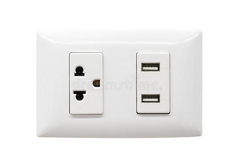 White electrical plug and USB wall outlet royalty free stock photography