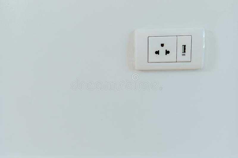 White electrical plug and USB wall royalty free stock images