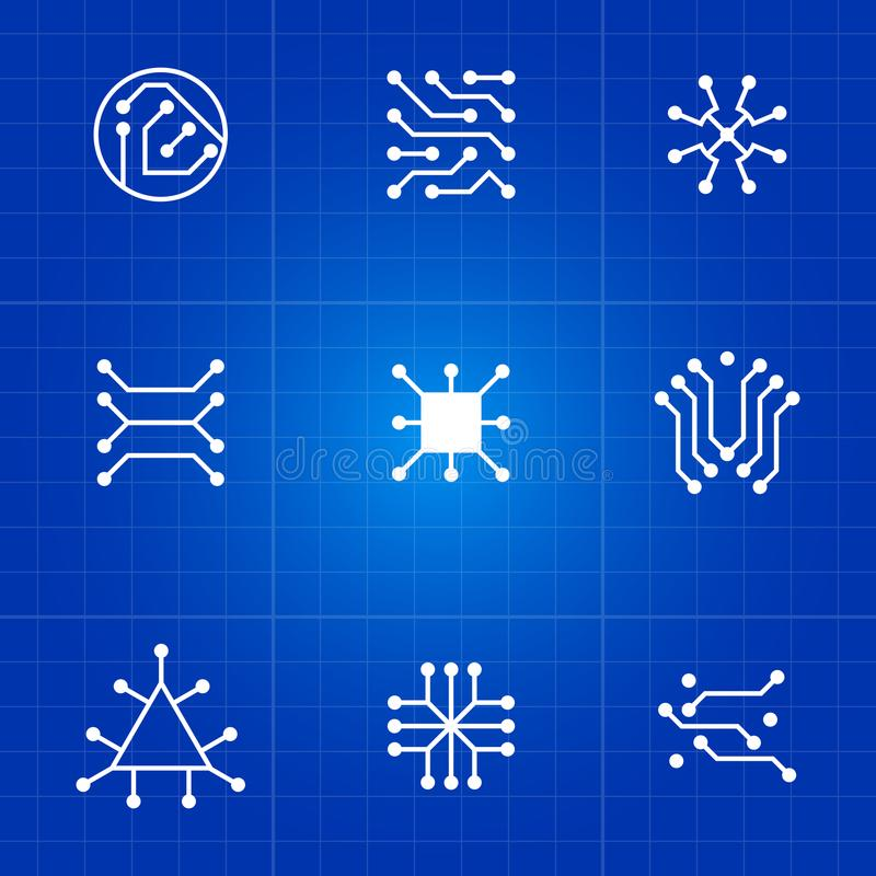 White electronic computer chip circuit and motherboard equipment vector icons vector illustration