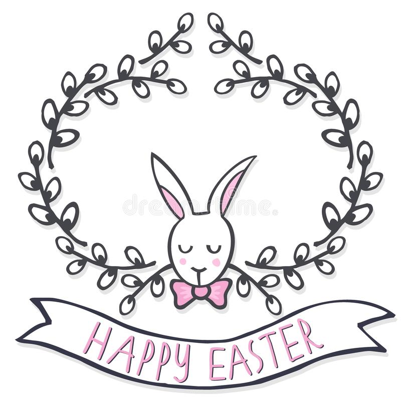 Free White Elegant Bunny In Willow Wreath Spring Holiday Easter Card With Wishes Royalty Free Stock Photo - 39858235