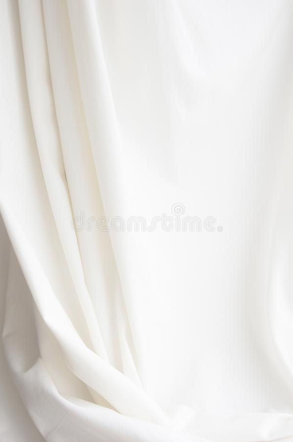 White elegant canvas cloth texture drapery background. Free space for text message. Backdrop for photography and layouts design royalty free stock photos