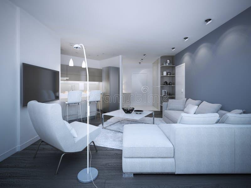 White elegant studio apartment. Blue and white walls, corner sofa with pillows, small kitchen on background. 3D render royalty free illustration