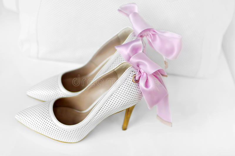 Download White elegant woman shoes. stock photo. Image of up, classical - 31998984