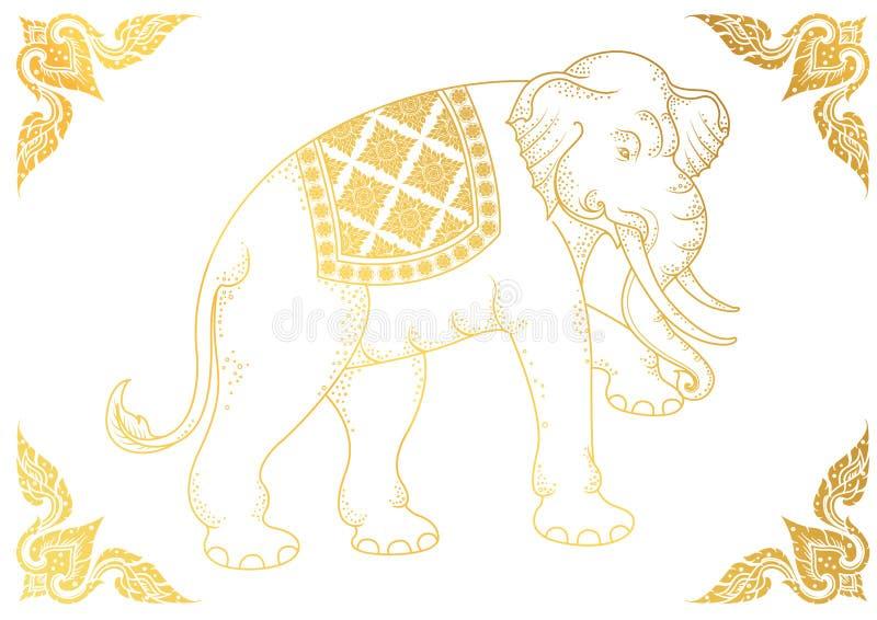 White Elephant outline thai tradition. Illustrator royalty free illustration