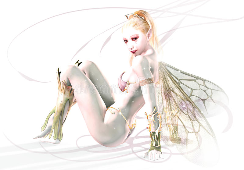 The White Elf. A graceful elf against a white background royalty free illustration
