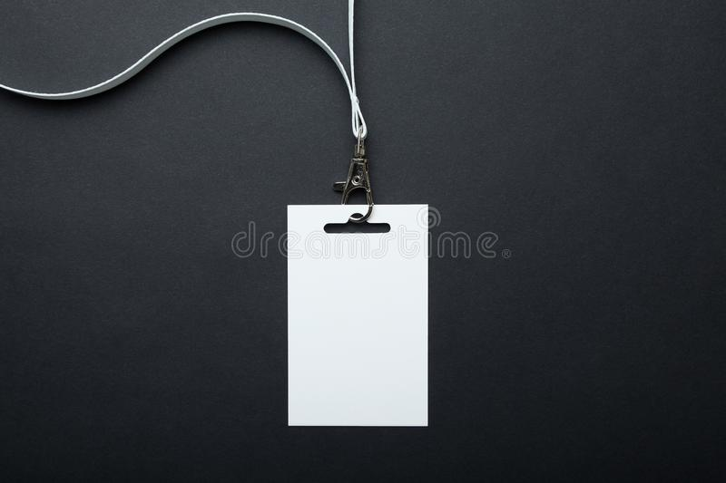 White empty badge mockup / id card, stand isolated. Person identity label. lanyard design.  royalty free stock photos