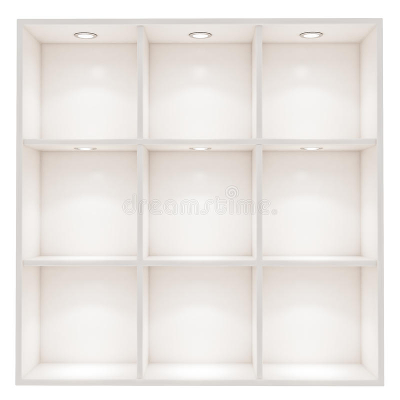White empty box shelves with spot light isolated on white background. For advertisment text, montages, images, photos, objects stock image